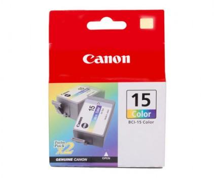 2 Original Ink Cartridges, Canon BCI-15 Color 7.5ml