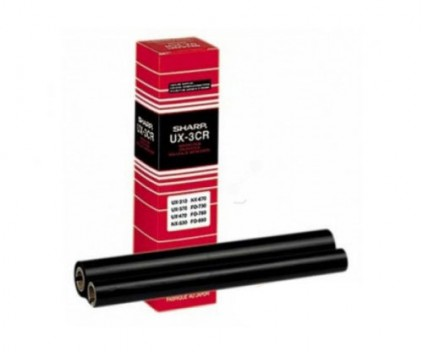 2 Original Thermal Transfer Rolls Sharp UX3CR Black ~ 190 Pages