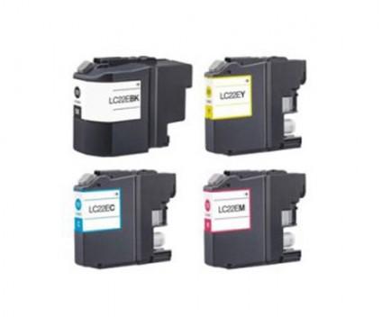 4 Compatible Ink Cartridges, Brother LC-22E BK Black + Color