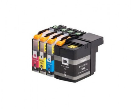 4 Compatible Ink Cartridges, Brother LC-12E BK Black + Color