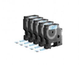 5 Compatible Tapes, DYMO 45011 BLUE / TRANSPARENT 12mm x 7m