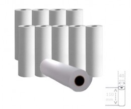 10 Thermal Paper Rolls 110x40x11mm