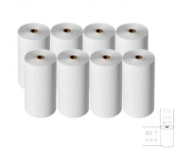 8 Thermal Paper Rolls 80x55x12mm