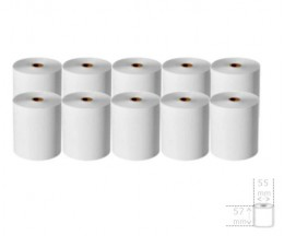 10 Thermal Paper Rolls 57x55x12mm