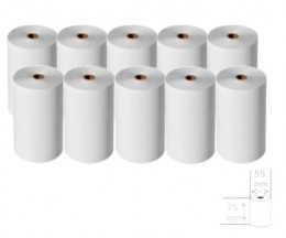10 Thermal Paper Rolls 75x55x12mm