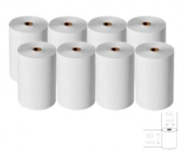 8 Thermal Paper Rolls 80x65x12mm