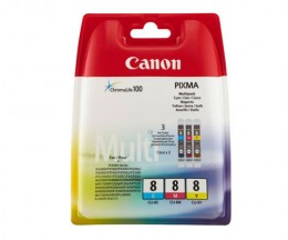 3 Original Ink Cartridges, Canon CLI-8 Color 13ml