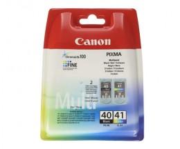2 Original Ink Cartridges, Canon PG-40 / CL-41 Black 16ml + Color 12ml