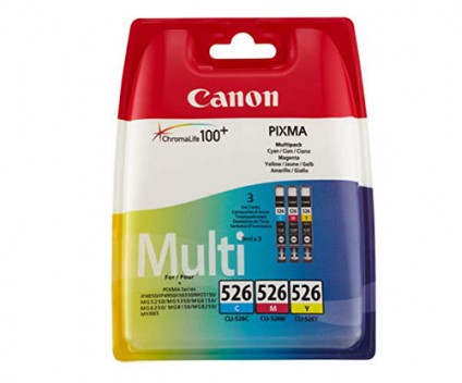 3 Original Ink Cartridges, Canon CLI-526 Color 9ml
