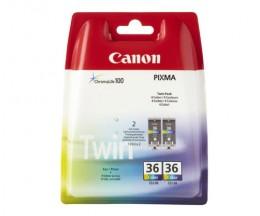 2 Original Ink Cartridges, Canon CLI-36 Color 12ml