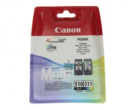 2 Original Ink Cartridges, Canon PG-510 / CL-511 Black 9ml + Color 9ml