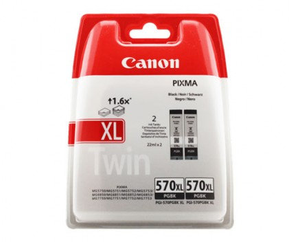 2 Original Ink Cartridges, Canon PGI-570XL Black 22ml