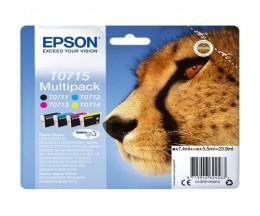 4 Original Ink Cartridges, Epson T0715 / T0711-T0714 Black 7.4ml + Color 5.5ml
