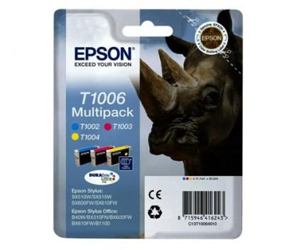 3 Original Ink Cartridges, Epson T1006 / T1002-T1004 Color 11.1ml