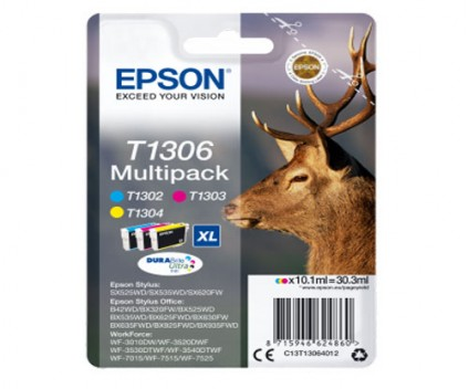 3 Original Ink Cartridges, Epson T1306 / T1302-T1304 Color 10.1ml