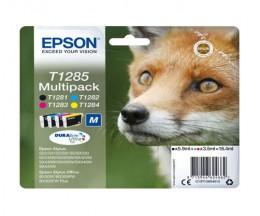 4 Original Ink cartridges Epson T1285 / T1281-T1284 Black 6ml + Color 3.5ml