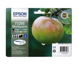 4 Original Ink cartridges Epson T1295 / T1291-T1294 Black 12ml + Color 7ml