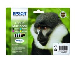 4 Original Ink Cartridges, Epson T0895 / T0891-T0894 Black 5.8ml + Color 3.5ml
