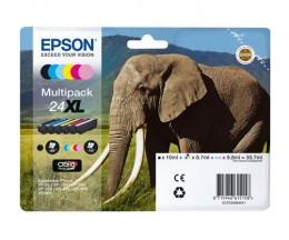 6 Original Ink Cartridges, Epson T2431-T2436 / 24 XL Black 10ml + Color 8,7ml