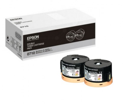 2 Original Toners, Epson S050710 Black ~ 2.500 Pages