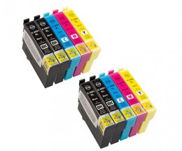 10 Compatible Ink Cartridges, Epson T2991-T2994 Black 17ml + Colors 13ml