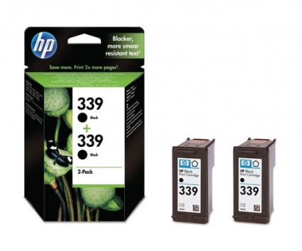 2 Original Ink Cartridges, HP 339 Black 21ml