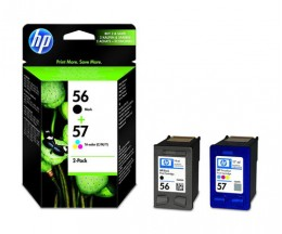 2 Original Ink Cartridges, HP 56 Black 19ml + 57 Color 17ml