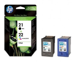 2 Original Ink Cartridges, HP 21 Black 5ml + 22 Color 5ml ~ 360 Pages