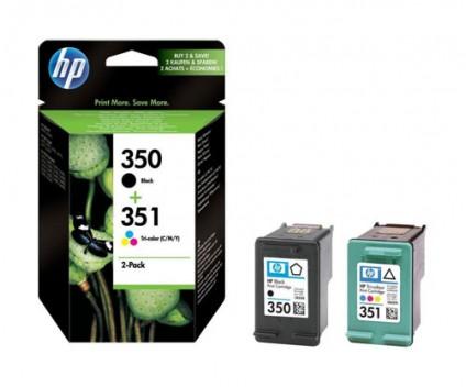 2 Original Ink Cartridges, HP 350 Black 4.5ml + HP 351 Color 3.5ml