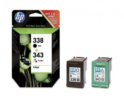 2 Original Ink Cartridges, HP 338 Black 11ml + HP 343 Color 7ml