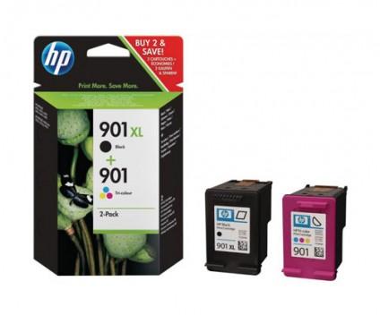 2 Original Ink Cartridges, HP 901 XL Black 14ml + Color 9ml
