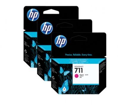 3 Original Ink Cartridges, HP 711 Magenta 29ml