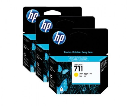 3 Original Ink Cartridges, HP 711 Yellow 29ml