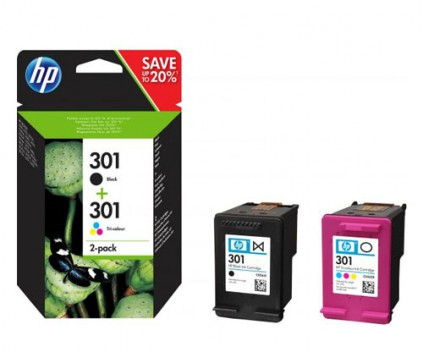 2 Original Ink Cartridges, HP 301 Black 3ml + Color 3ml