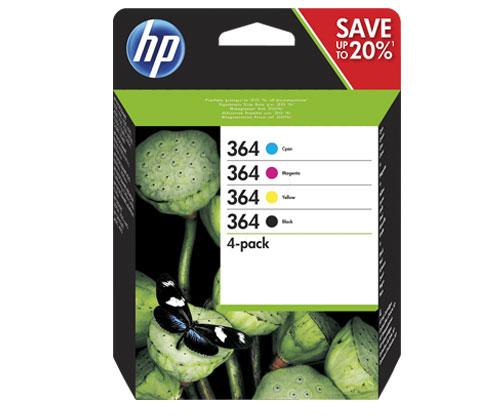 4 Original Ink Cartridges, HP 364 Black 6ml + Colores 3ml
