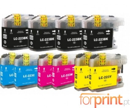 10 Compatible Ink Cartridges, Brother LC-221 / LC-223 Black 16.6ml + Color 9ml