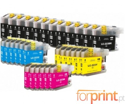 30 Compatible Ink Cartridges, Brother LC-221 / LC-223 Black 16.6ml + Color 9ml