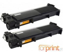 2 Compatible Toners, Brother TN-2320 Black ~ 2.600 Pages