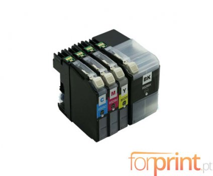 4 Compatible Ink Cartridges, Brother LC-529 XL Black + LC-525 XL Color ~ 2.600 / 1.500 Pages