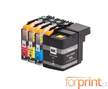 4 Compatible Ink Cartridges, Brother LC-12E BK Black + Color