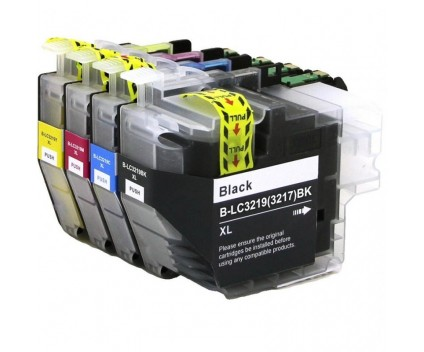 4 Compatible Ink Cartridges, Brother LC3219XL Black 60ml + Color 18ml