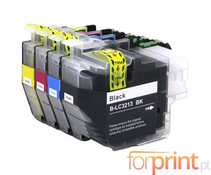 4 Compatible Ink Cartridges, Brother LC3211 / LC3213 Black + Colors ~ 400 Pages