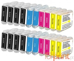 20 Compatible Ink Cartridges, Brother LC-970 XL / LC-1000 XL Black 36ml + Color 26.6ml