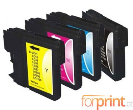 4 Compatible Ink Cartridges, Brother LC-980 XL / LC-1100 XL Black 28ml + Color 18ml