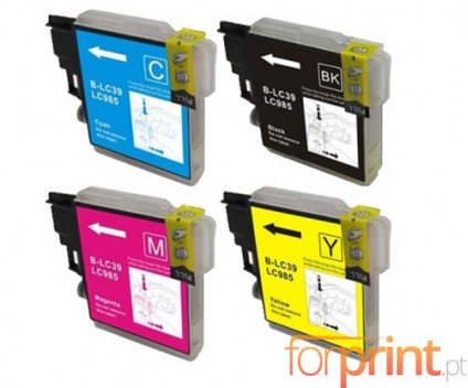 4 Compatible Ink Cartridges, Brother LC-985 XL Black 28ml + Color 18ml