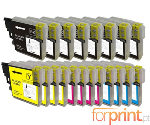 20 Compatible Ink Cartridges, Brother LC-985 XL Black 28ml + Color 18ml