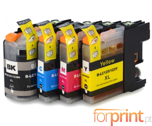4 Compatible Ink Cartridges, Brother LC-121 / LC-123 Black 20.6ml + Color 10ml