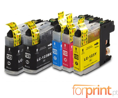 5 Compatible Ink Cartridges, Brother LC-121 / LC-123 Black 20.6ml + Color 10ml