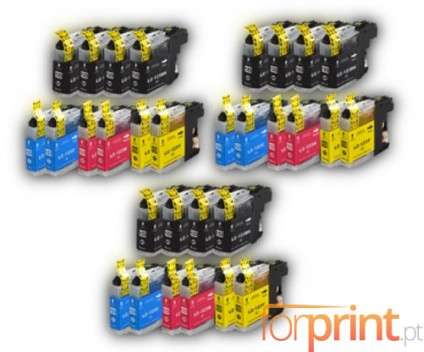 30 Compatible Ink Cartridges, Brother LC-121 / LC-123 Black 20.6ml + Color 10ml