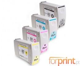 4 Compatible Ink Cartridges, HP 80 Black + Color 400ml